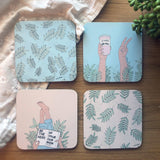 Coasters Set / Coffee & Leaves-Coasters-The Optimist
