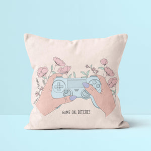 Throw Pillow / Game On, Bithces-Throw Pillow-The Optimist