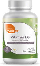Load image into Gallery viewer, Zahler Vitamin D3 (Cholecalciferol) 3000Iu, an All-Natural Supplement Supporting Bone Muscle Teeth and Immune System,120 Softgels