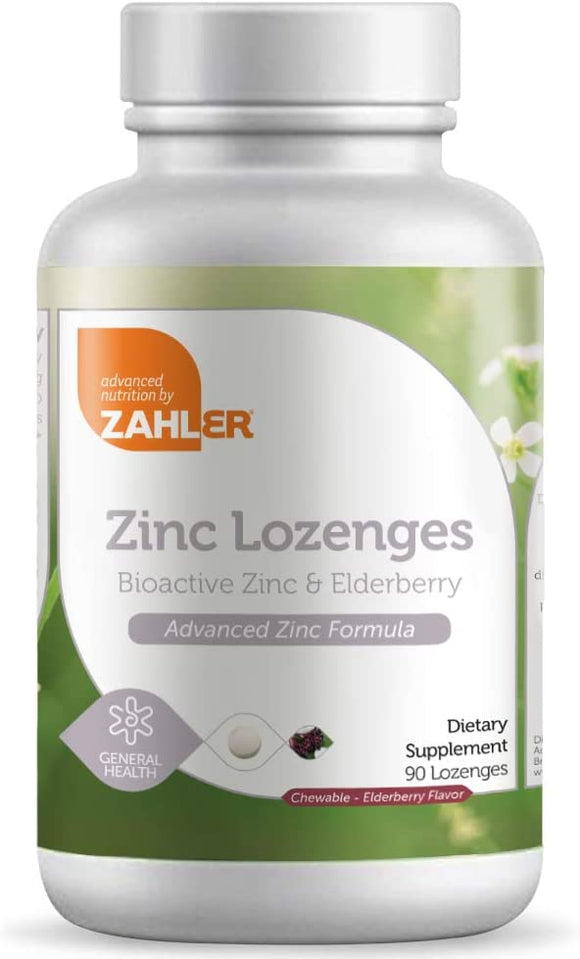 Zahler Zinc Lozenges with Elderberry, 25mg Chewable Zinc Tablets, Immune Support Antioxidant Supplement, Great Tasting Zinc Lozenge for Kids and Adults, Certified Kosher, 90 Lozenges