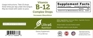 Ultra6 Nutrition Vitamin B12 Drops -- Great For Energy, Sublingual Nutrition And Weight Loss