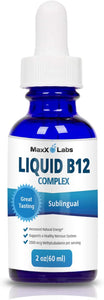 Best Vitamin B Complex Liquid New Vitamin B12 Sublingual Drops Advanced Energy Formula Combines B2 (Riboflavin) - B9 (Folic Acid) - B12 (Methylcobalamin) - Gluten & Allergens Free - 60 Servings