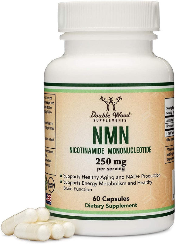 NMN Supplements - 250mg Per Serving (Nicotinamide Mononucleotide), Third Party Tested, to Boost NAD+ Levels Like Riboside for Anti Aging by Double Wood Supplements (125mg Per Cap, 60 Capsules)