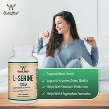 Load image into Gallery viewer, L-Serine Capsules (Third Party Tested) - 2,000mg Servings Used in Clinical Study, 180 Count, 500mg per Capsule (Amino Acid for Serotonin Production and Brain Support) by Double Wood Supplements