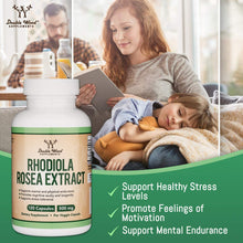 Load image into Gallery viewer, Rhodiola Rosea Supplement 500mg, 120 Vegan Capsules (Made and Tested in The USA, 3% Salidrosides, 1% Rosavins Extract) Natural Stress Level Support Pills by Double Wood Supplements