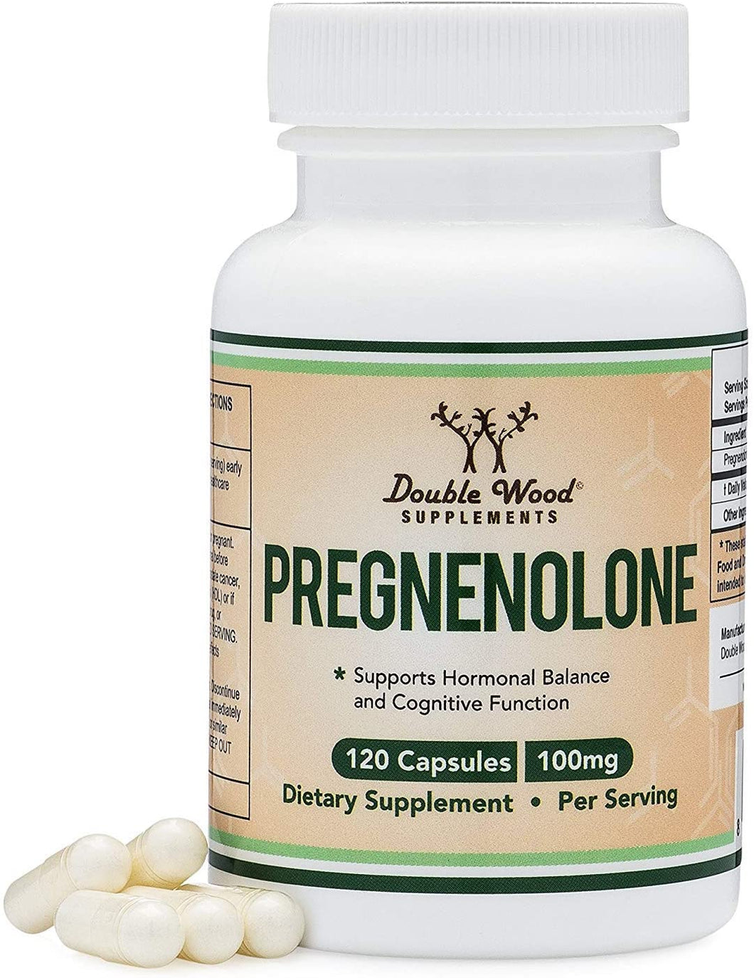 Pregnenolone - Third Party Tested - 120 Capsules - Made in The USA - 100mg Per Serving by Double Wood Supplements