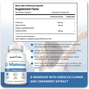 D Mannose Capsules - Fast Acting 1400 MG Extra Strength DMannose Capsule for Bladder Health with Potent Cranberry Extract and Hibiscus Flower Supports UTI Relief - Gluten-Free, Non-GMO Supplements