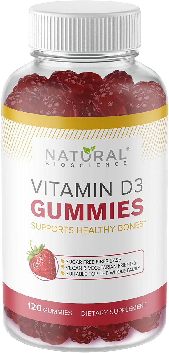 Sugar Free Vitamin D3 Gummies - Family Size 120 Gummies, Vitamin D for Kids & Adults, No Sugar, No Glucose, No Corn Syrup, Kosher, Vegan, Gluten-Free, Gelatin-Free, Non-GMO, Natural Strawberry Flavor