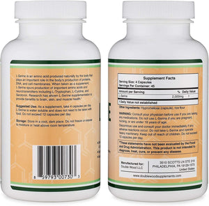 L-Serine Capsules (Third Party Tested) - 2,000mg Servings Used in Clinical Study, 180 Count, 500mg per Capsule (Amino Acid for Serotonin Production and Brain Support) by Double Wood Supplements