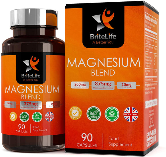 BL Magnesium Malate, Glycinate Citrate Triple Complex | 90 High Strength Vegan Capsules | 375mgs