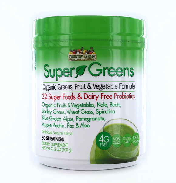 Super Greens Drink Mix | Country Farms | Natural Flavour | 21.2 Ounce (30 Servings)