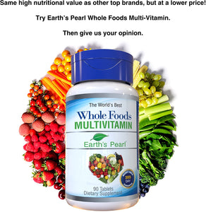 Vegan Whole Foods Multivitamin with Probiotics and Digestive Enzymes for Women, Men, Teens - 90 Dietary Supplement Tablets with Daily Nutrition Essentials, Vitamins, and Minerals - Earth's Pearl