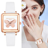 Ladies 3D Butterfly Square Leather Watch - White