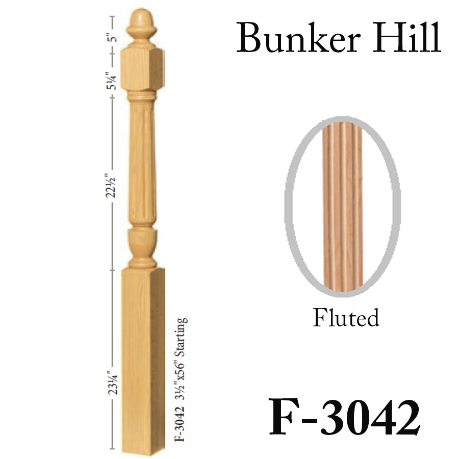 Cheap Fluted Bunker Hill Starting Newel Post