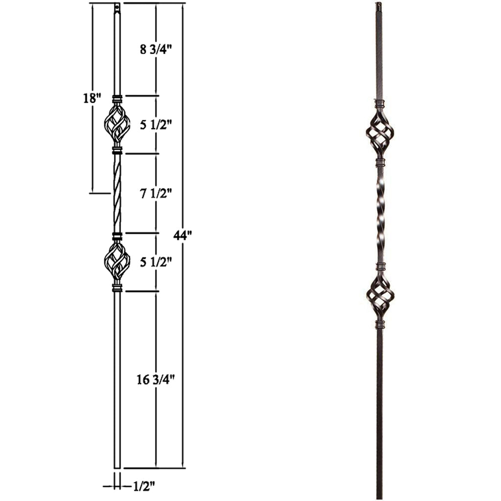Cheap Stair Double Basket Iron Baluster