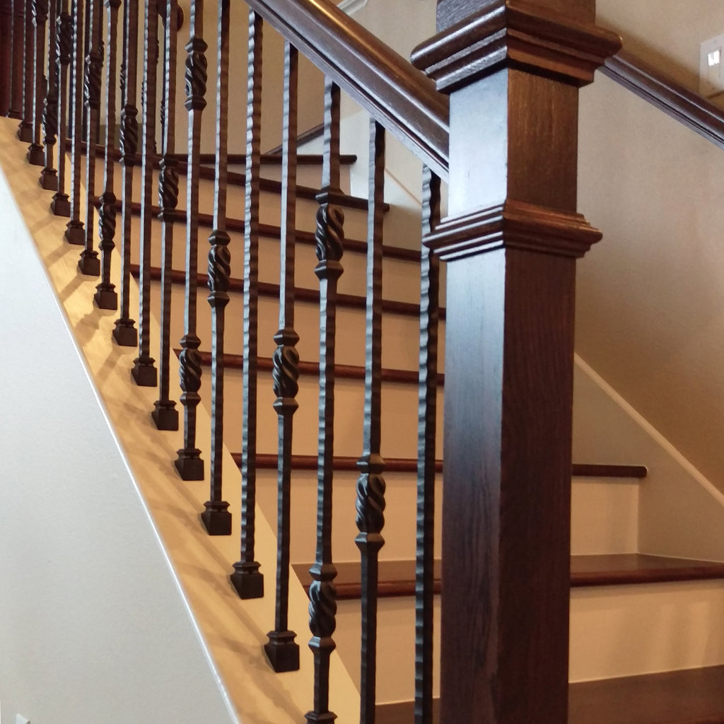 Black Stair Railing Iron Baluster Shoes