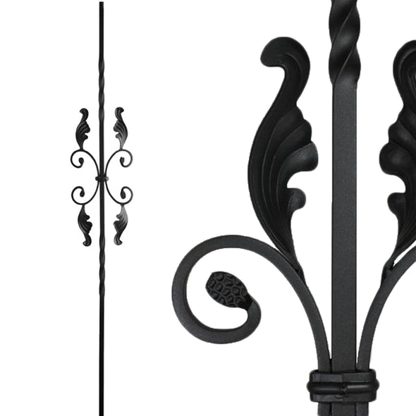 Affordable Double Twist Single Butterfly with Leaves Wrought Iron Baluster