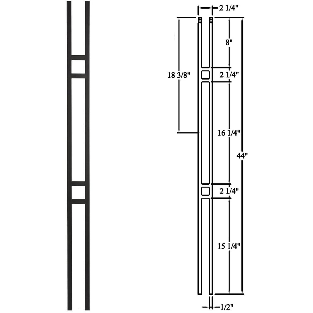 16.6.1 Cheap Double Bar Panel Wrought Iron Baluster