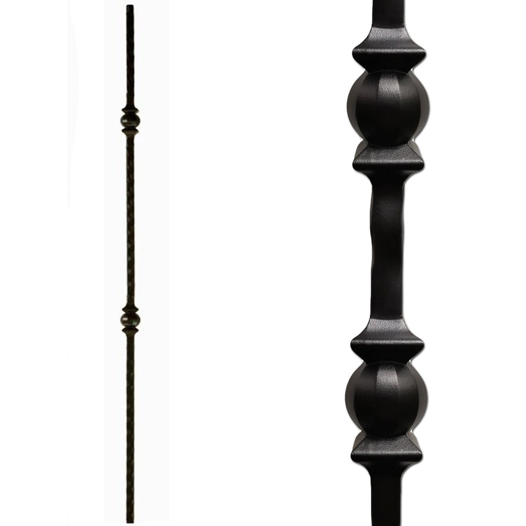 Double Sphere Forged Ball Hammered Iron Baluster
