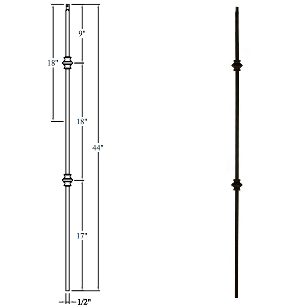 "Affordable 1/2"" Double Knuckle Wrought Iron Baluster"