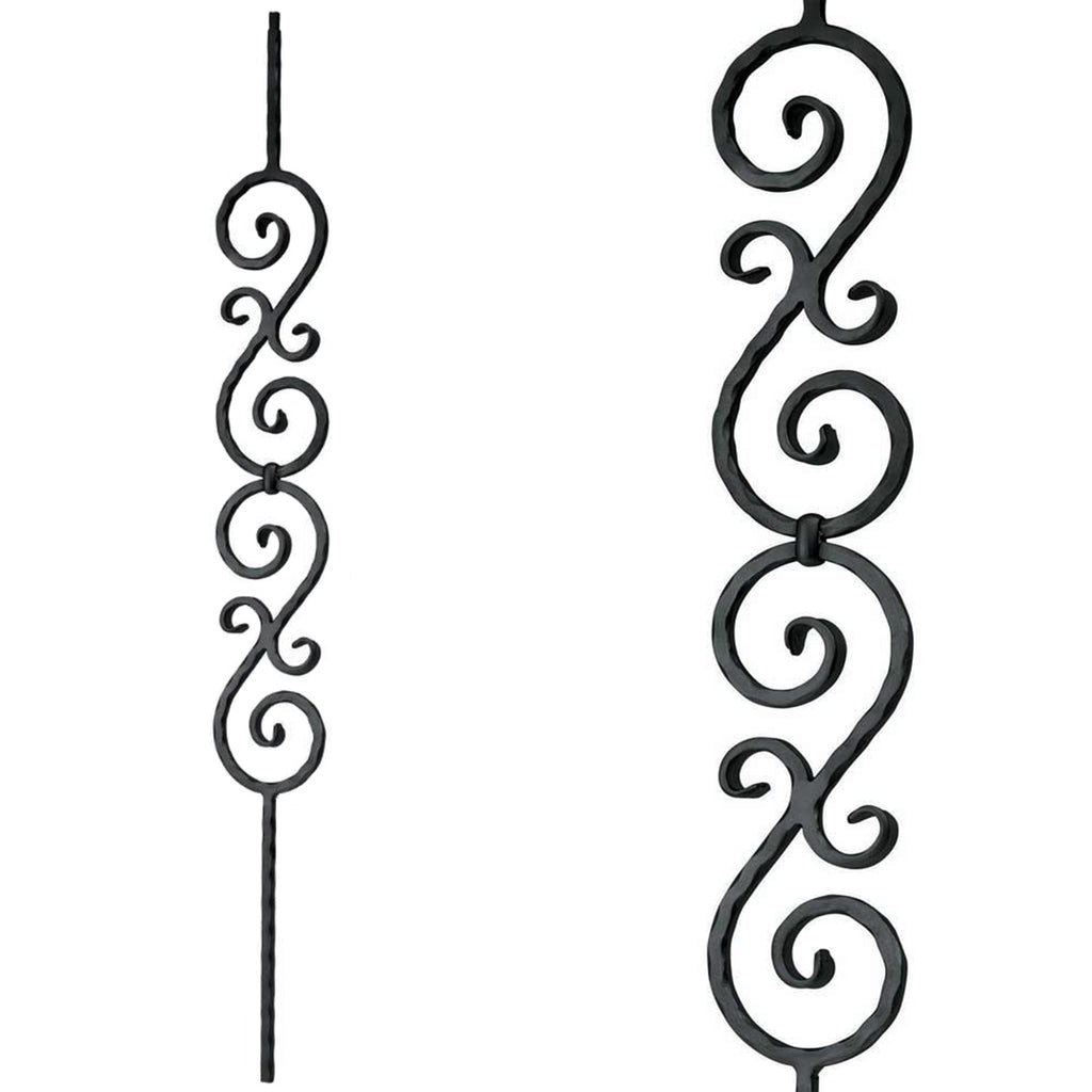 Double S-Scroll Wrought Iron Baluster