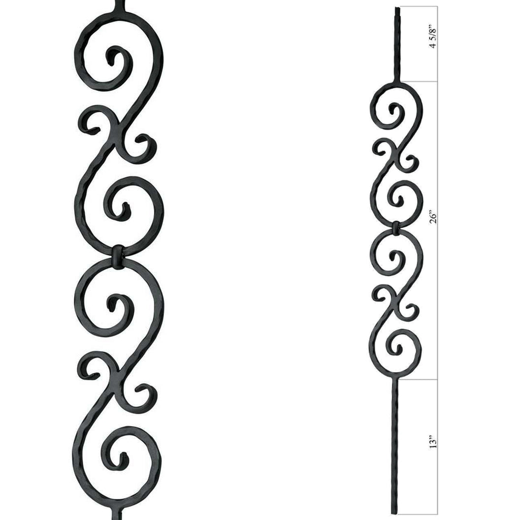 Affordable Double S-Scroll Wrought Iron Baluster