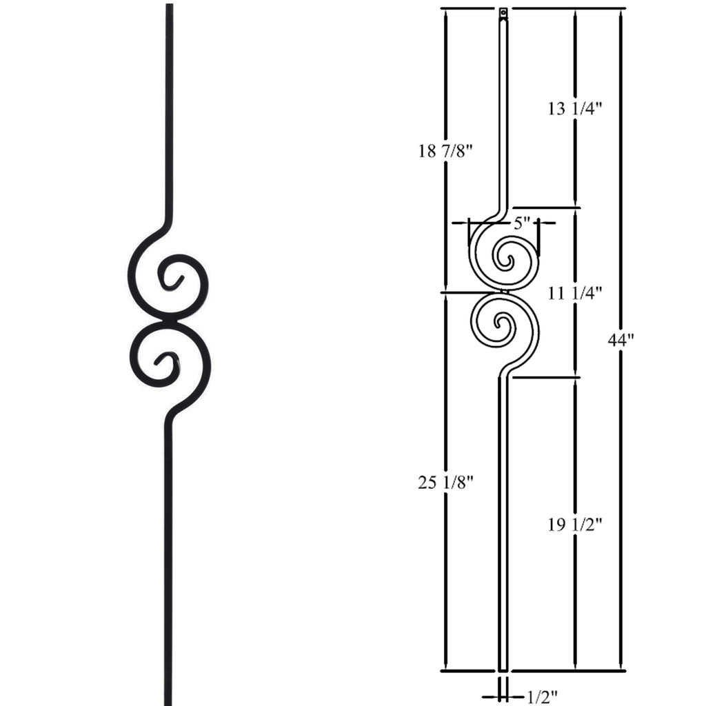 Spiral Nautilus Scroll Iron Baluster