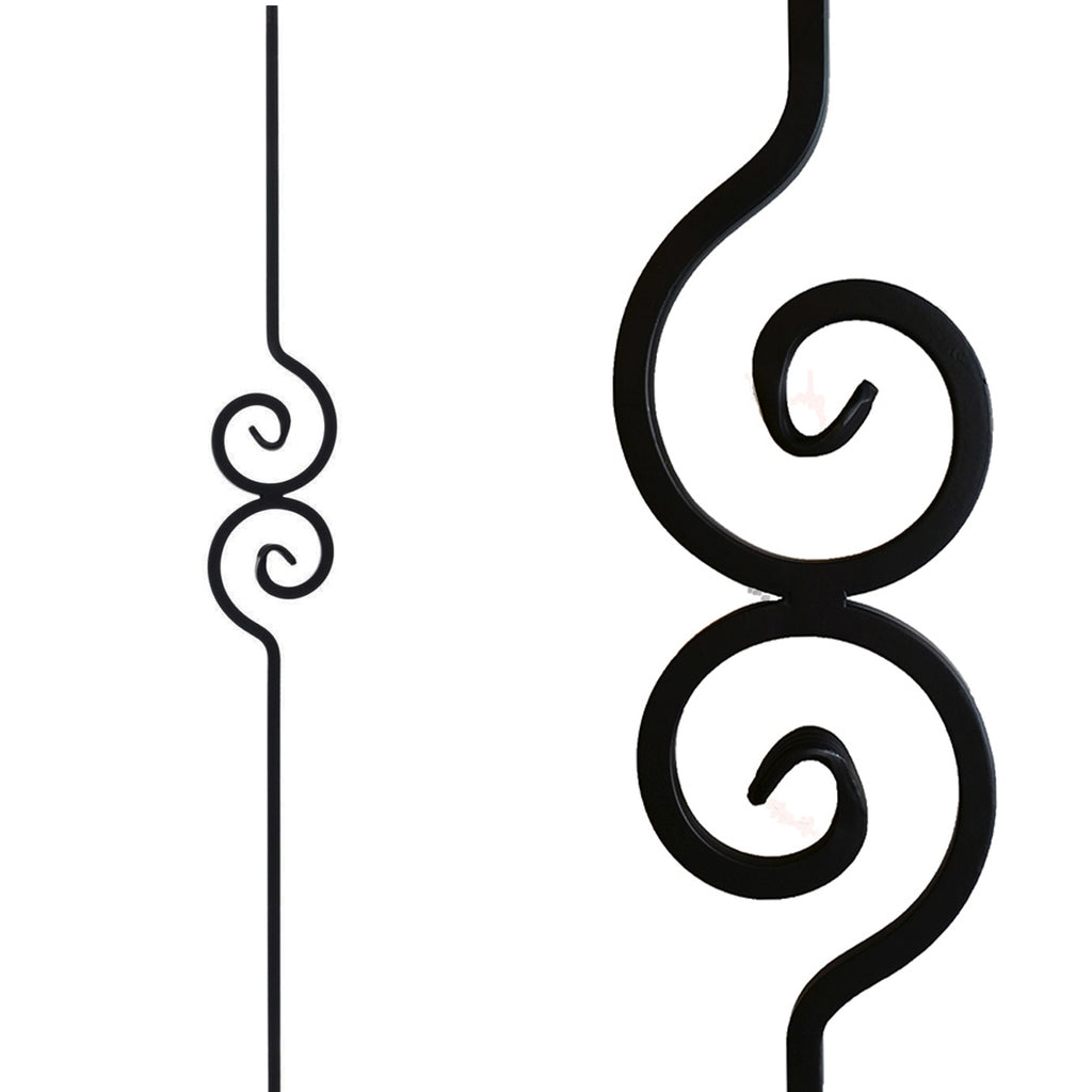 Double Spiral Nautilus Scroll Iron Baluster