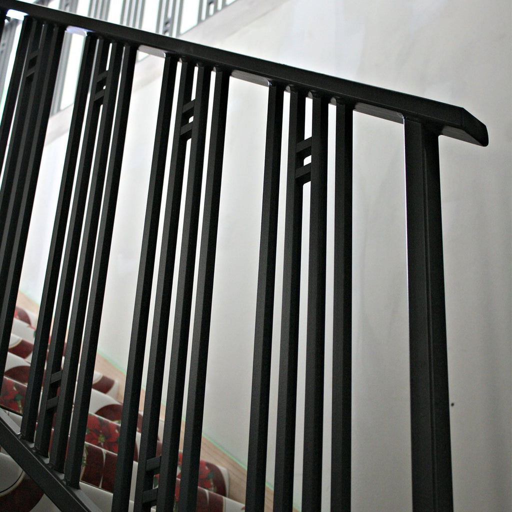 Black Railing Plain Stair Wrought Iron Newel Post