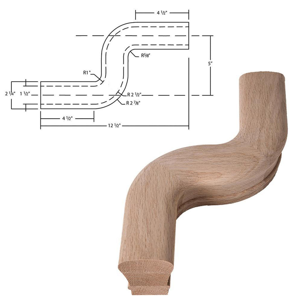 "Affordable Left ""S"" Turn Stair Handrail Fitting"
