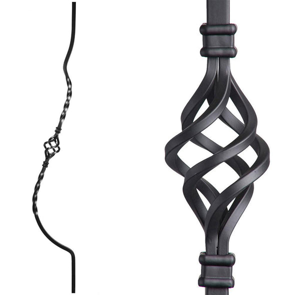 Single Basket Belly Wrought Iron Baluster