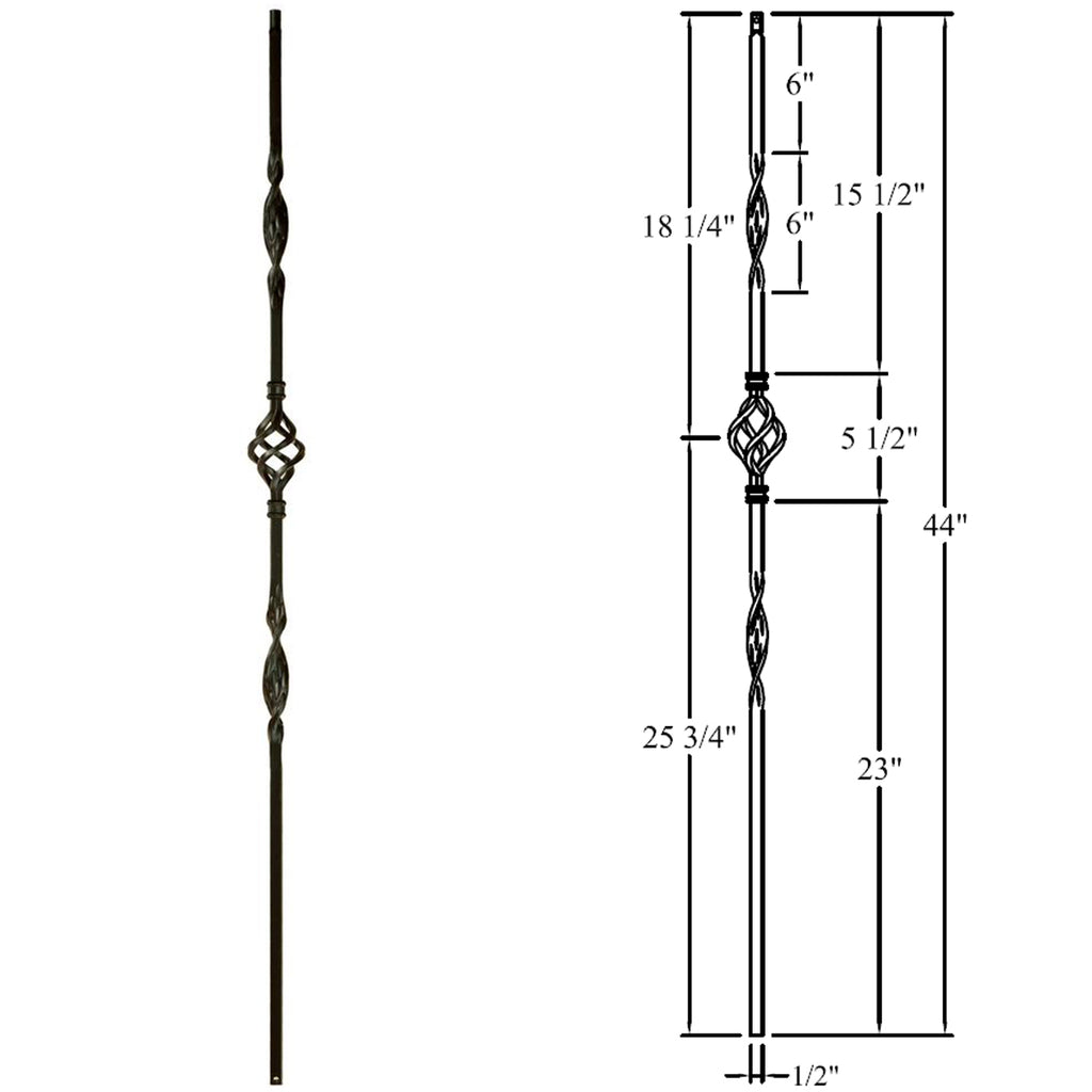 Affordable Single Basket & Two Ribbons Iron Baluster