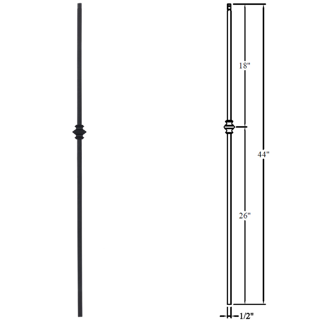 "1/2"" Single Knuckle Wrought Iron Baluster"