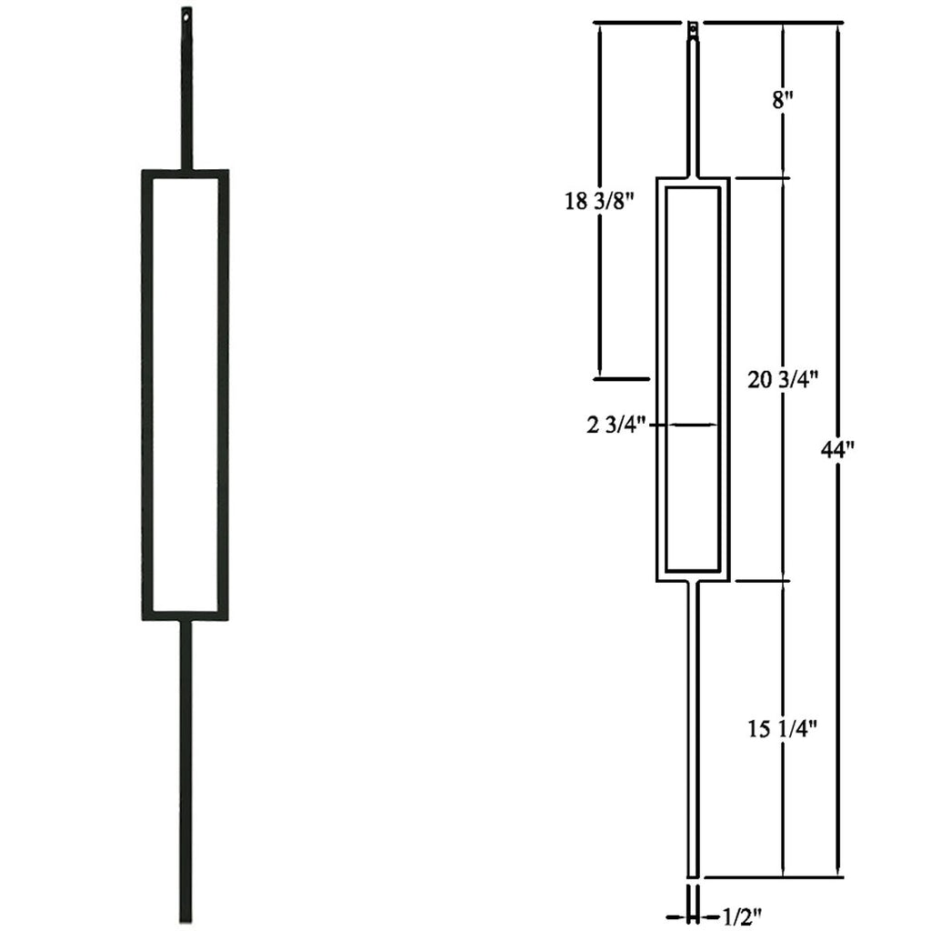 Contemporary Single Rectangle Modern Metal Baluster