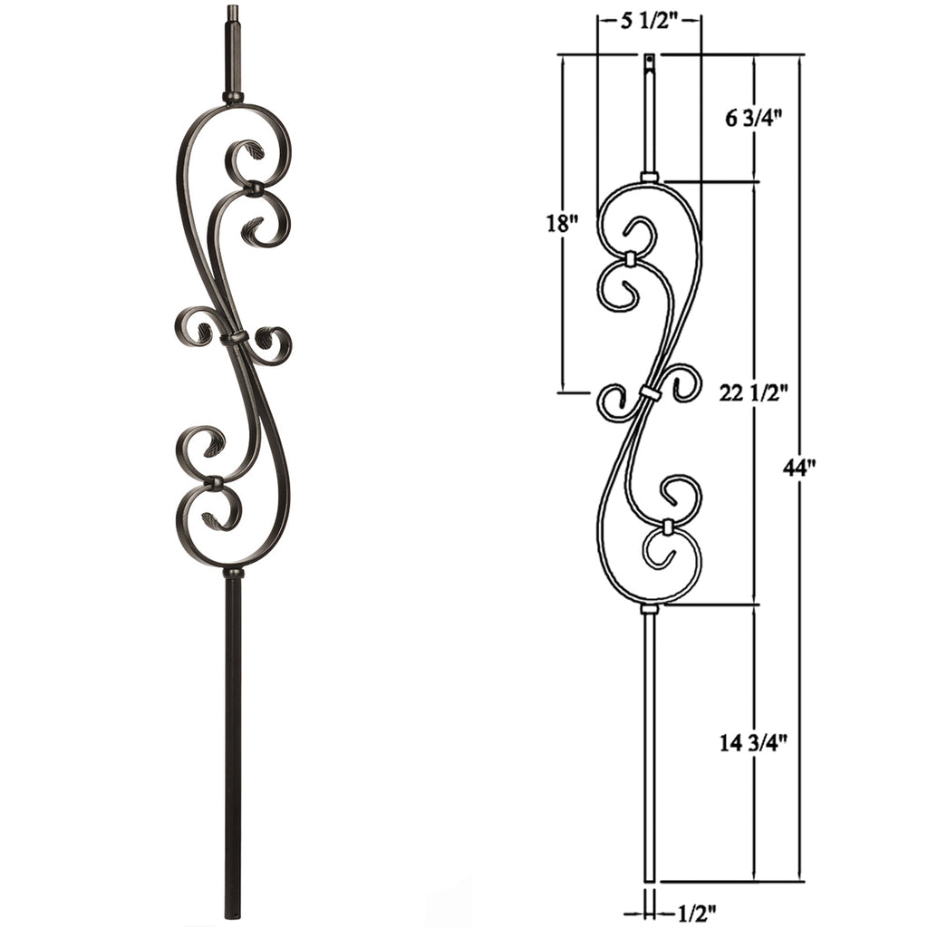 Skinny Scroll Wrought Iron Baluster