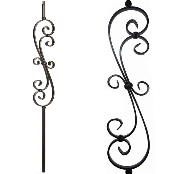 Affordable Stair Skinny Scroll Wrought Iron Baluster