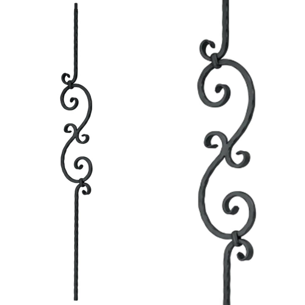 Staircase Small S-Scroll Wrought Iron Baluster