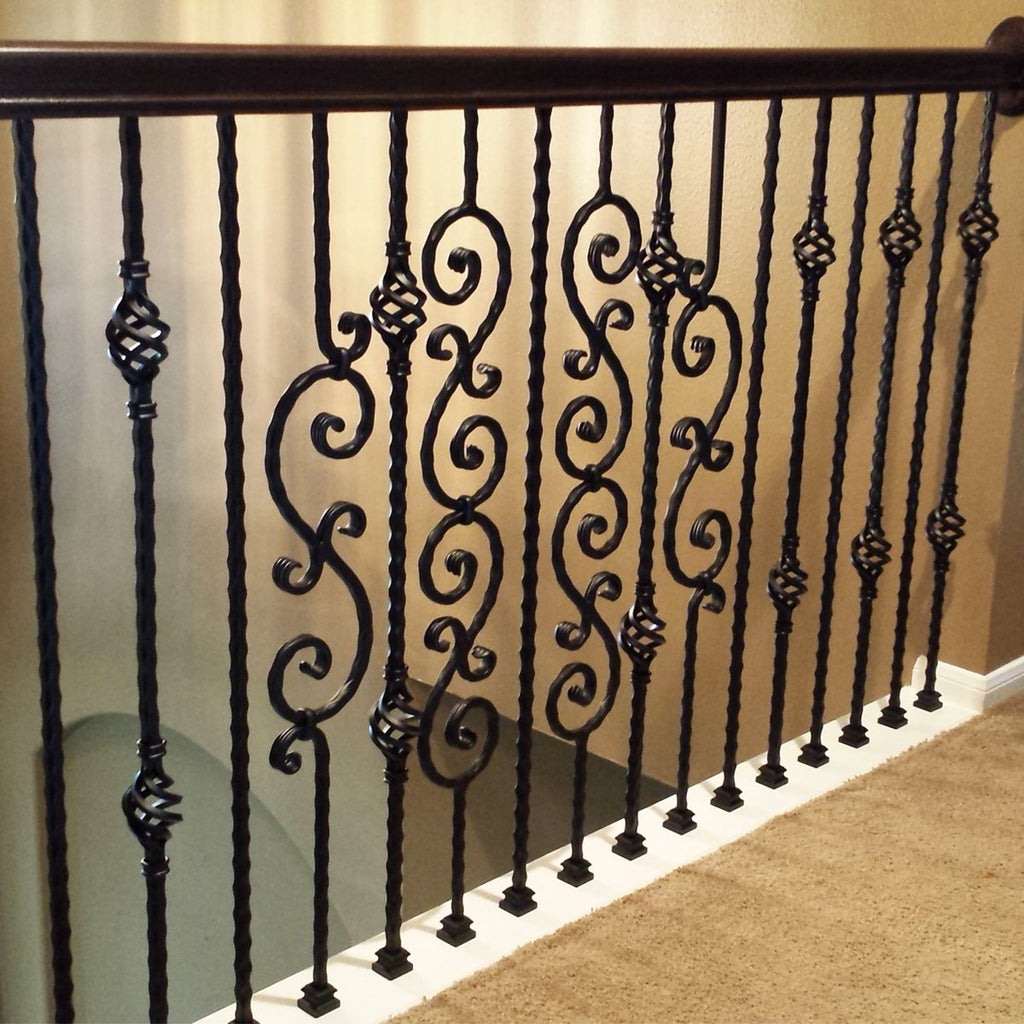 Black Railing Spindles Small S-Scroll Wrought Iron Baluster