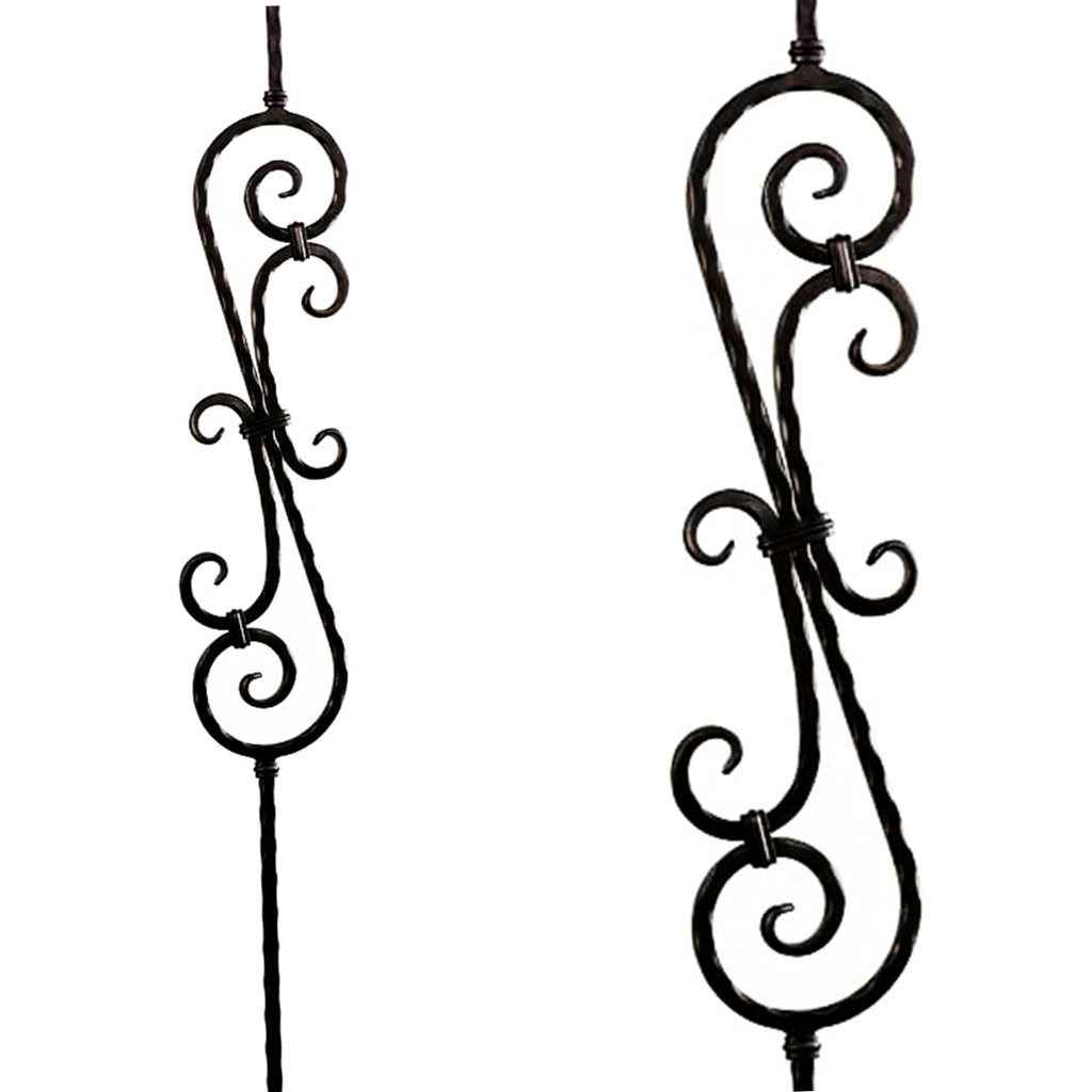 Hammered Heavy Scroll Iron Baluster