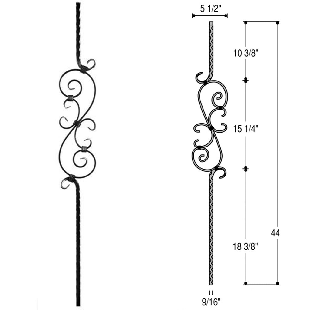 Three Piece Scroll Wrought Iron Baluster PC32/1
