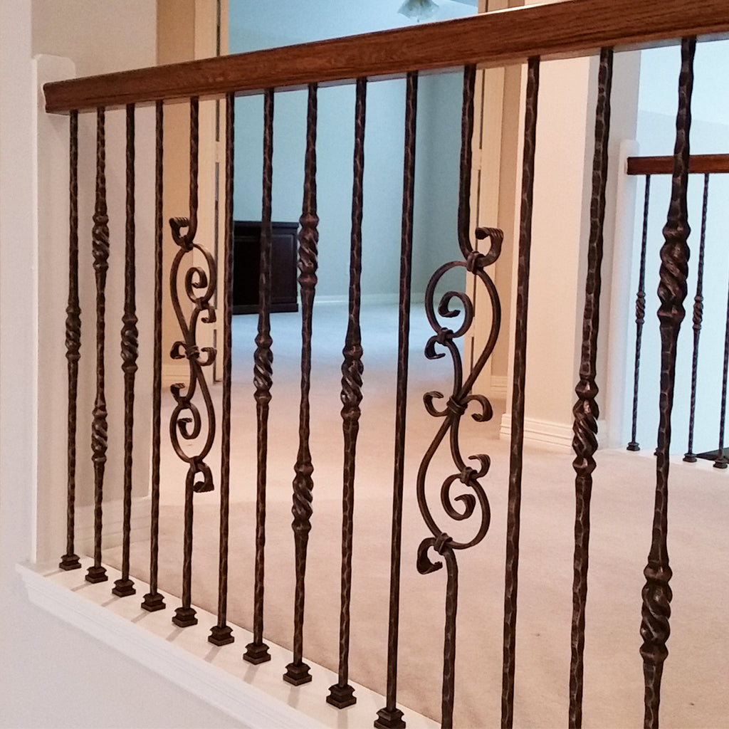 Cheap Three Piece Scroll Wrought Iron Baluster