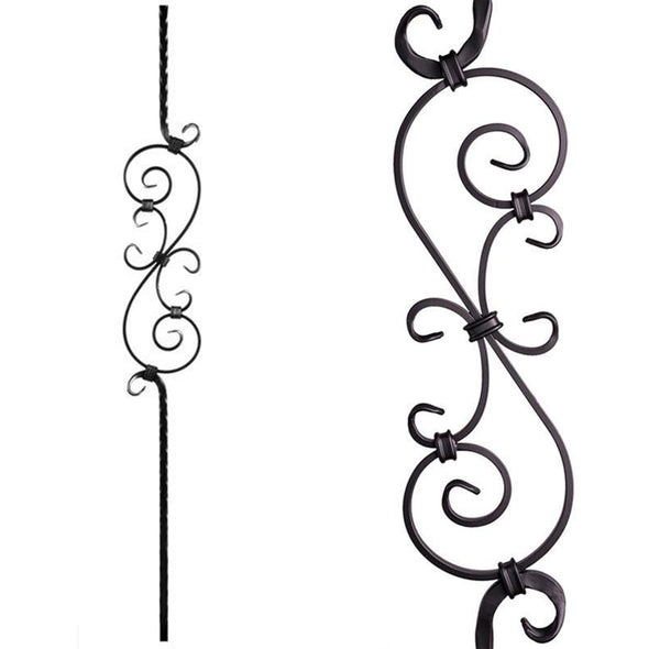 Affordable Three Piece Scroll Wrought Iron Baluster 2.9.8