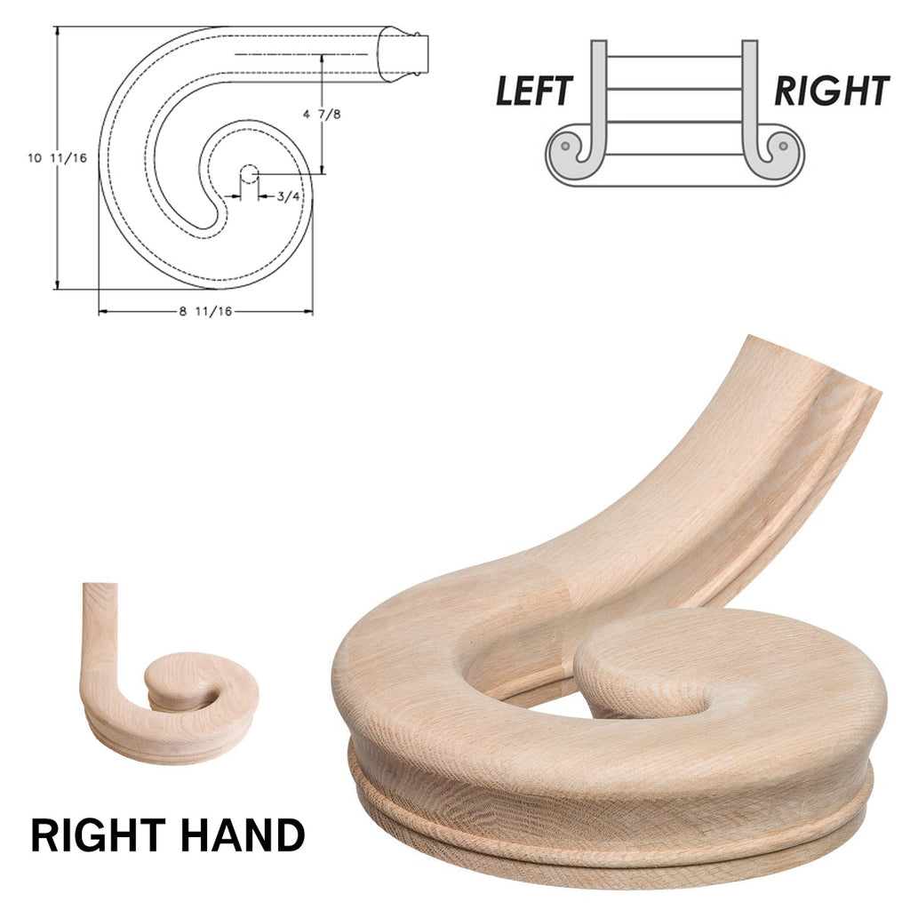 Right Hand Volute Handrail Fitting