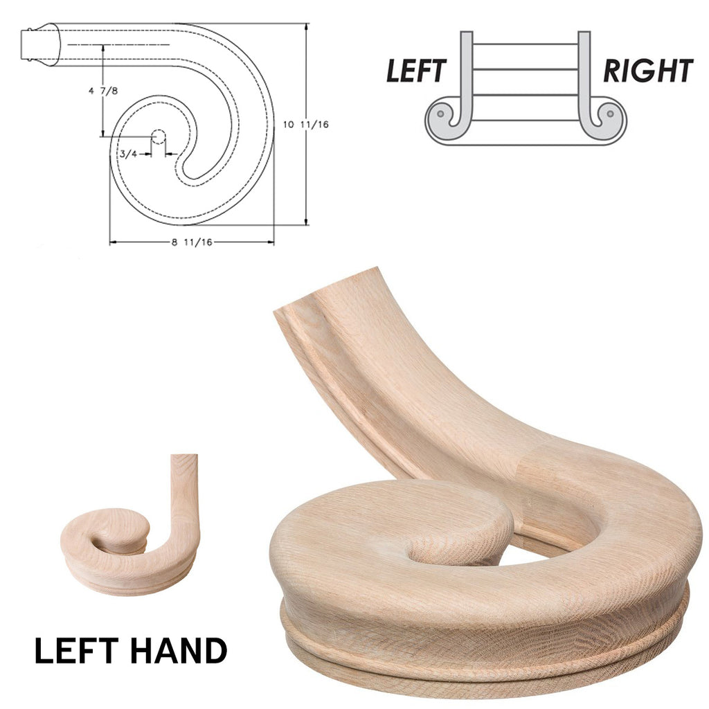 Left Hand Volute Wood Handrail Fitting 7030