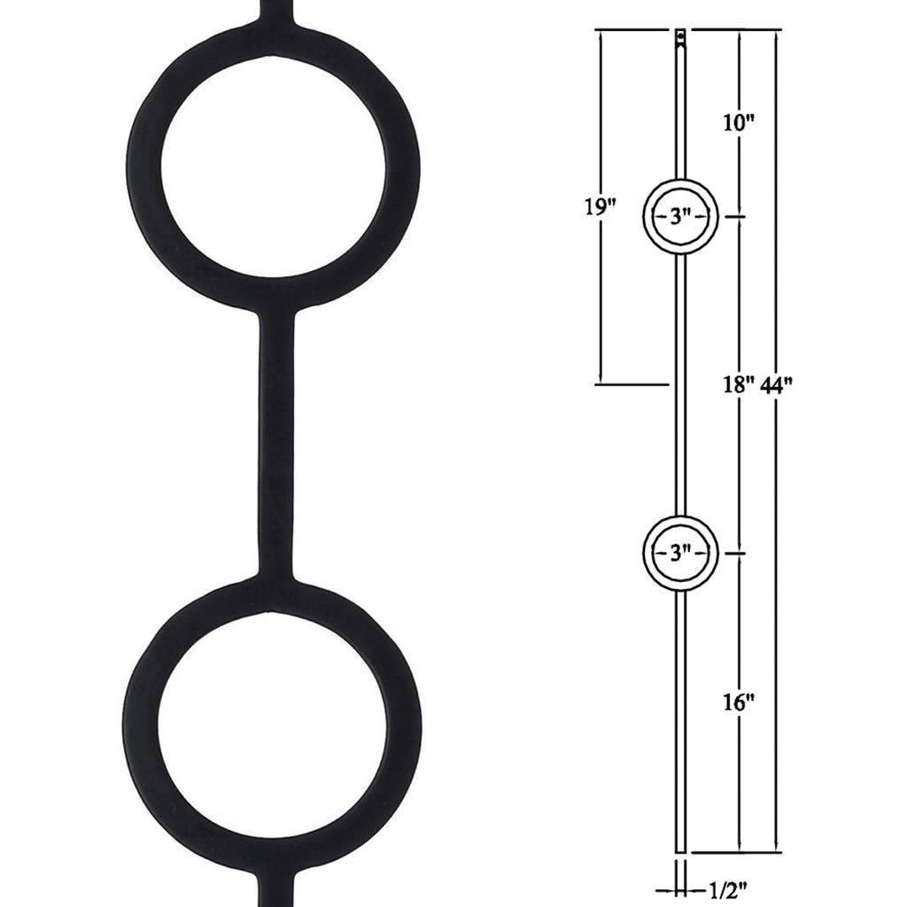 Double Ring Wrought Iron Baluster