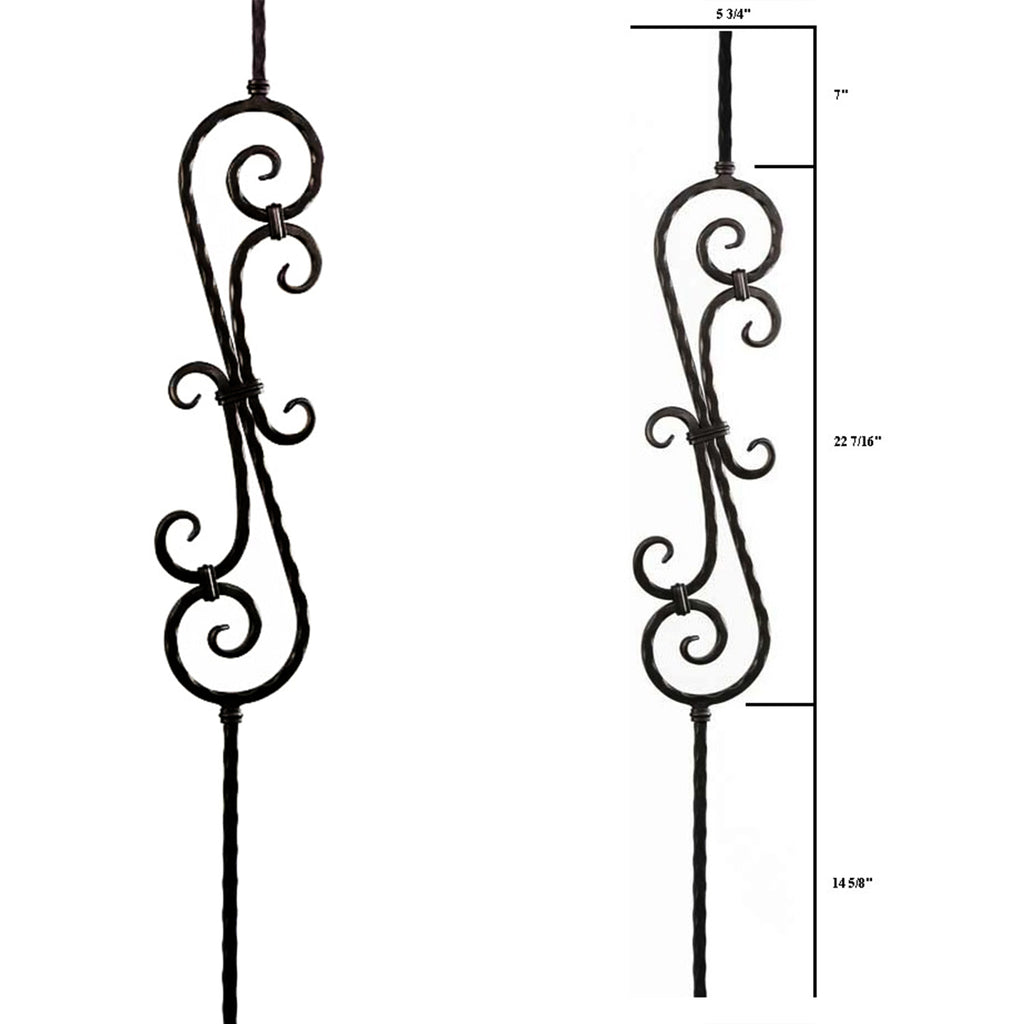 Hammered Heavy Scroll Baluster