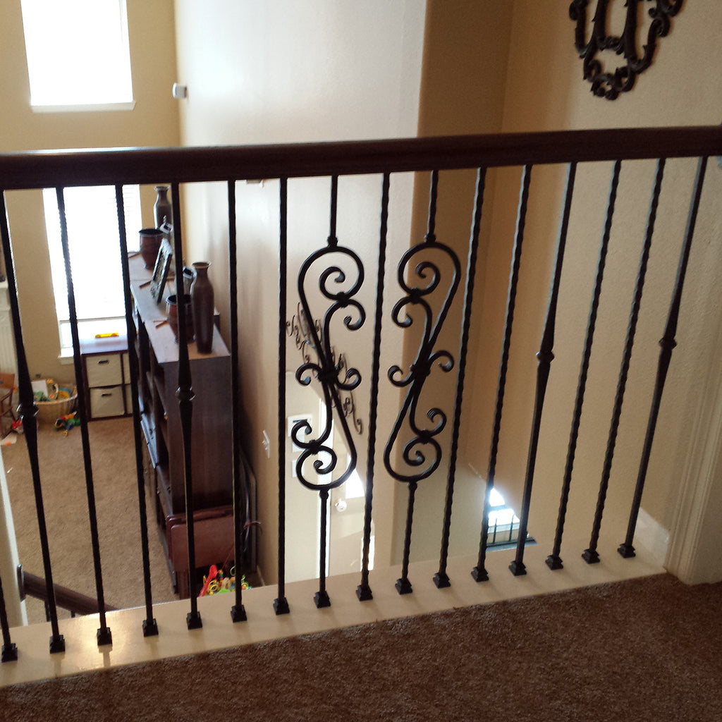 Hammered Heavy Scroll Wrought Iron Baluster