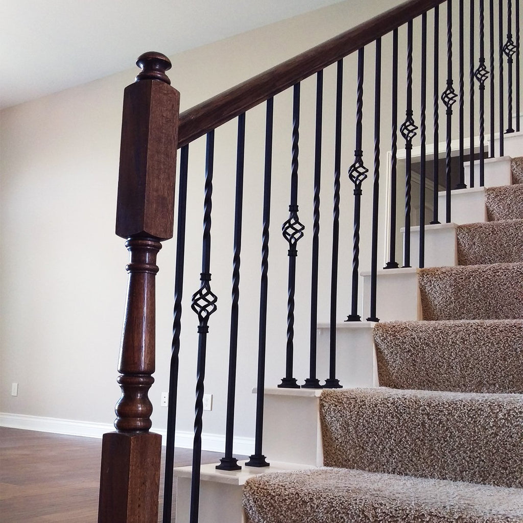 Cheap Stair Single Basket Wrought Iron Baluster