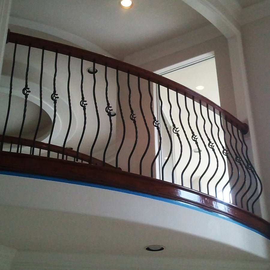 Single Twist Belly Balcony Wrought Iron Baluster