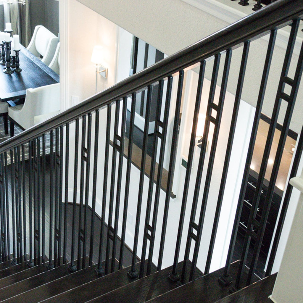 Staircase Railing Metal Double Bar Panel Wrought Iron Baluster